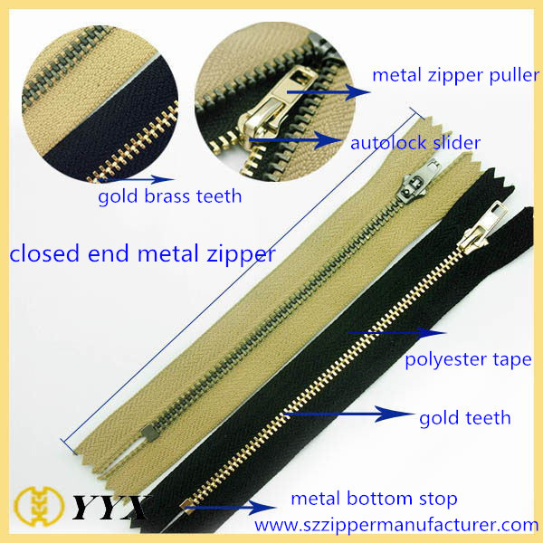 hot sale High quality heavy duty metal zippers for jacket