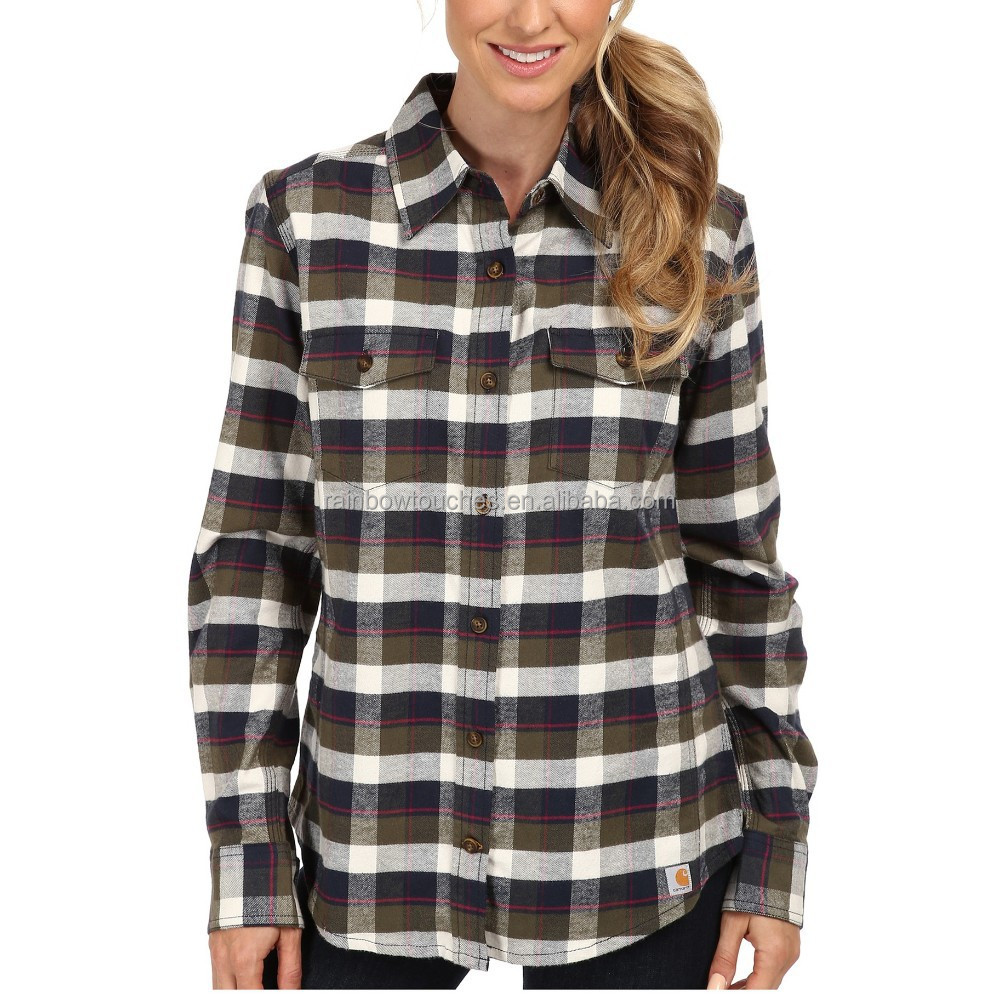wholsale plaid woman flannel shirt high quality cotton