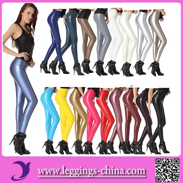 2016 High Waist Metallic Cheap Shiny Stretchy Mature Sexy Pictures Faux Leather Leggings For Women