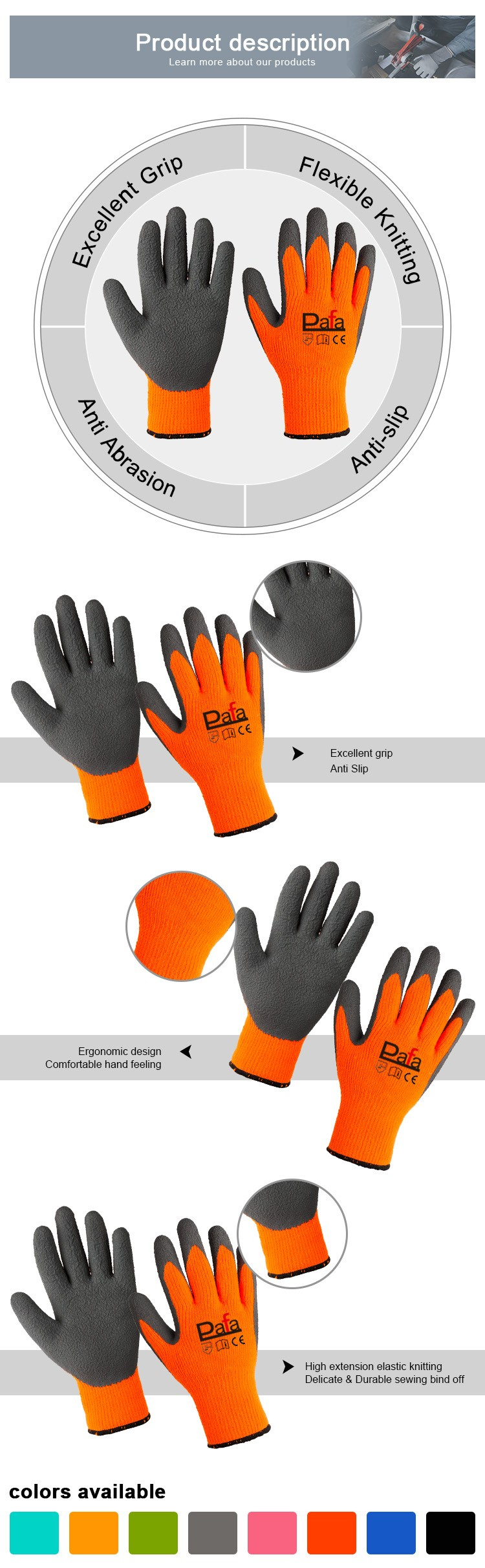Eco-friendly top glove breathable gloves work latex
