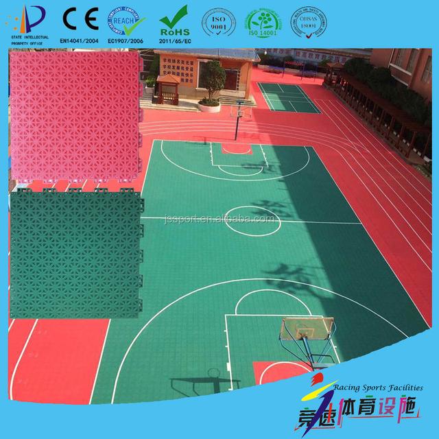 plastic outdoor basketball court floor surface covering on asphalt concrete base