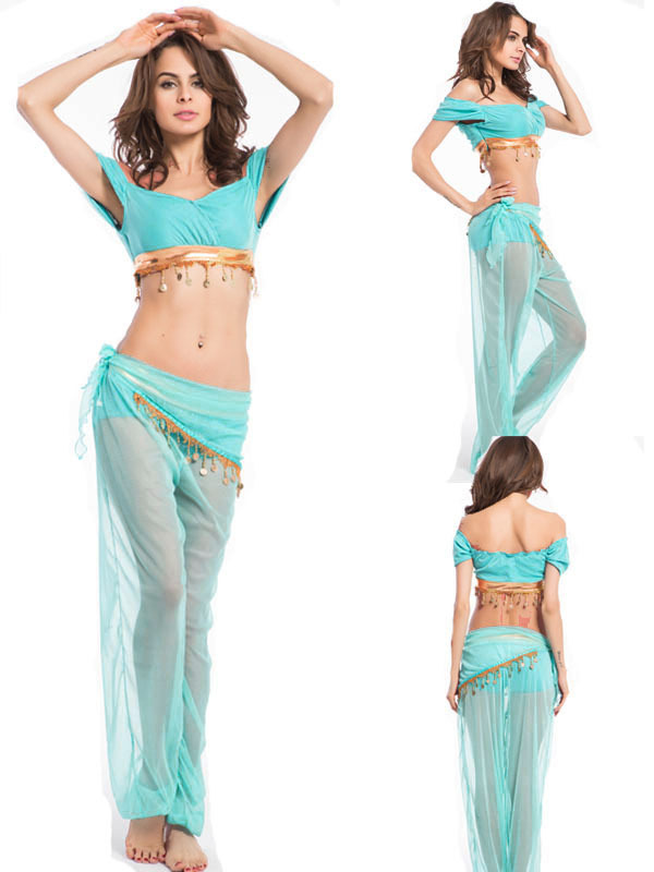 Women Jasmine Aladdin Princess Fancy Costume Belly Dancer Halloween