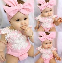 Summer 2017 Infant Baby Girls Pink Lace Romper Backless Floral Jumpsuit Outfits Set And headband Sunsuit