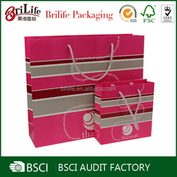 Pink color eco friendly paper shopping bag with rope handles