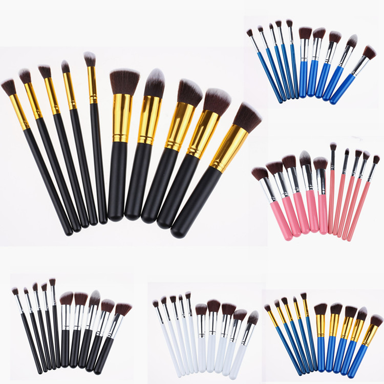 2016 aliexpress private label 10pcs maquillaje cosmetics synthetic makeup brushes set