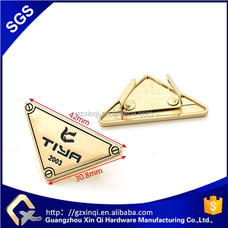 Xinqi handbag hardware triangle bag custom metal logo for handbags