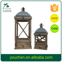 Garden wooden and metal lantern for candle