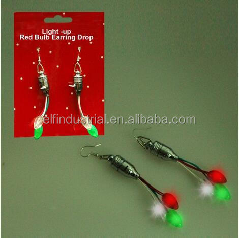 Christmas party decoration red Bulbs Earring Drop LED flashing light up earrings