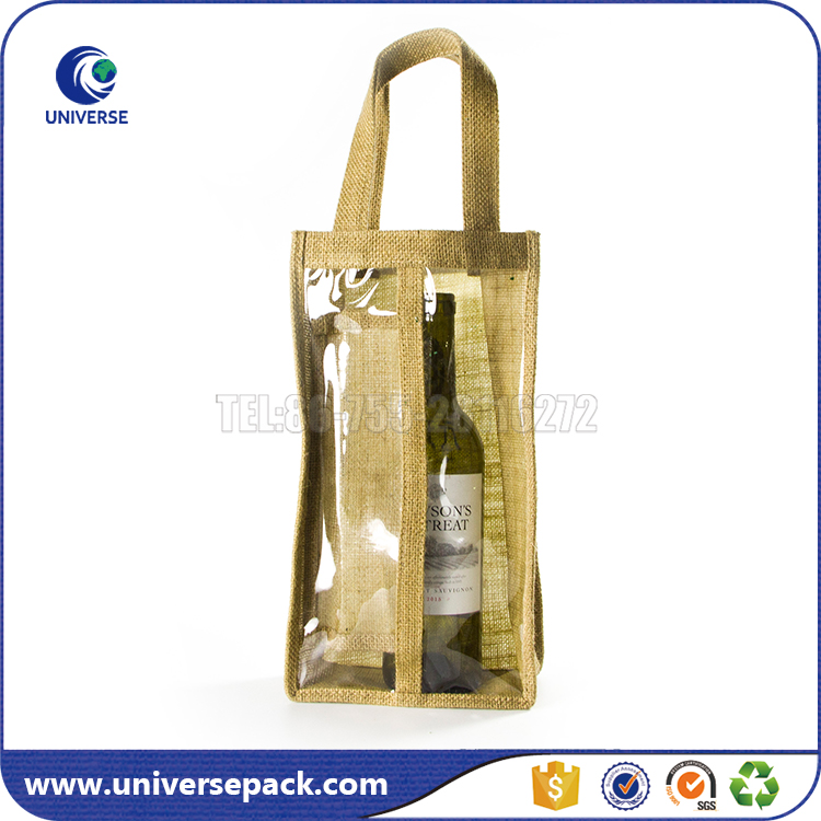 Promotional Jute handle PVC window tote jute wine bags with guesst