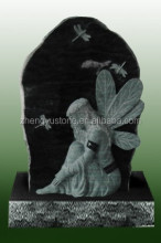 Natural stone angel tombstone