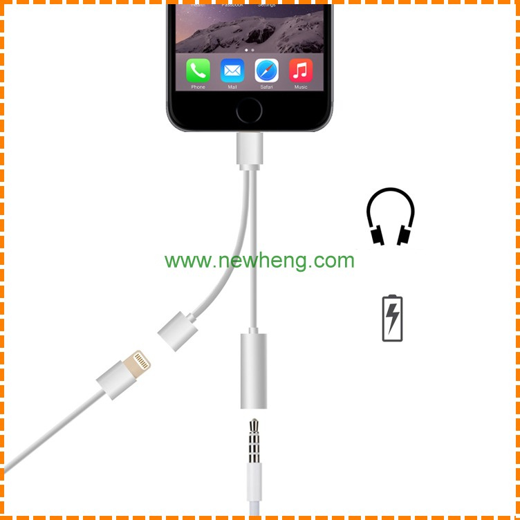 2 in 1 8pin Converter +Charging, Earphone to 3.5mm Audio Cable Adapter listening to Music and Charge for iphone 7