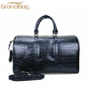 new fashion croc embossed cow leather duffle bag travelling weekend holdall bag