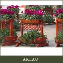 Arlau round wood antique furniture,big wooden flower planter,big round wooden flower planter with hoop iron