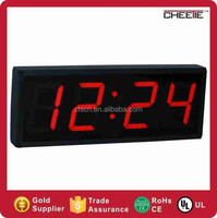 4 digits led large display 12 hour 24 hour red digital table clock