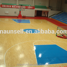Inexpensive wooden surface pvc flooring in stock indoor basketball court use