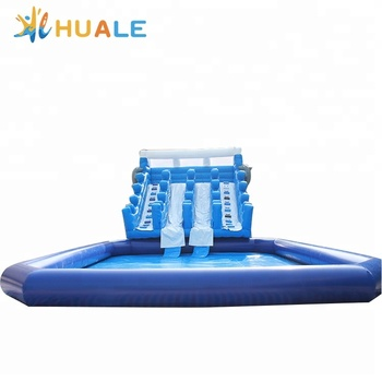 Huale Outdoor inflatable dolphin water slide, double lane wet slide with pool combo