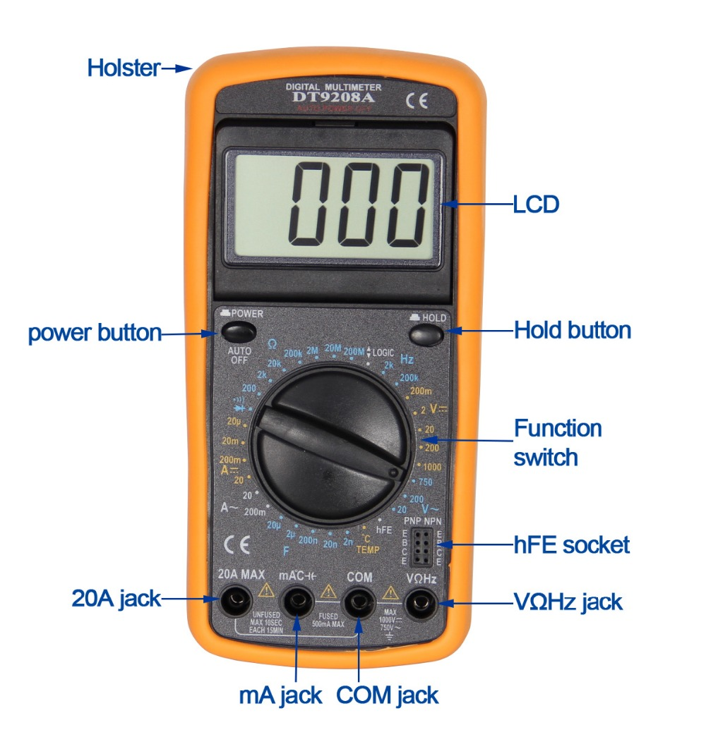 DT9208A digital multimeter (moving viewing angle)