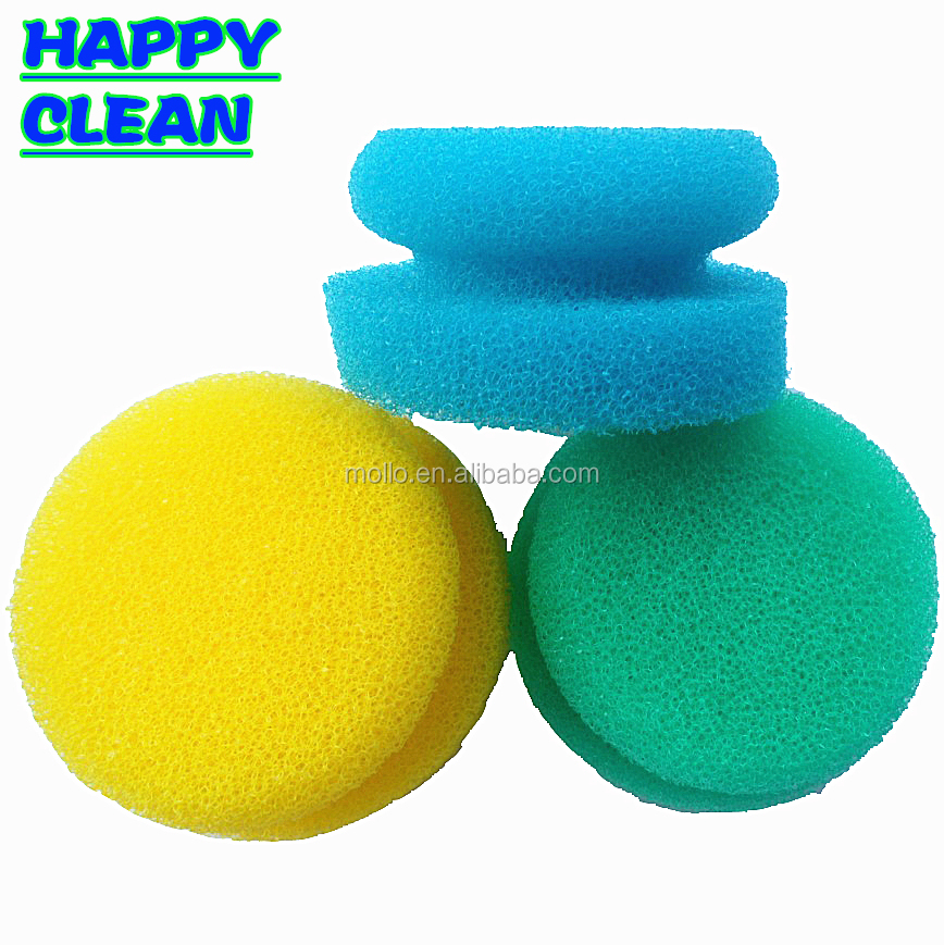 Round Shaped Toxin Free Multifunctional Colorful High Density Kitchen Cleaning Sponge
