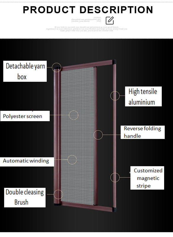 Retractable roller fly mosquito screen net