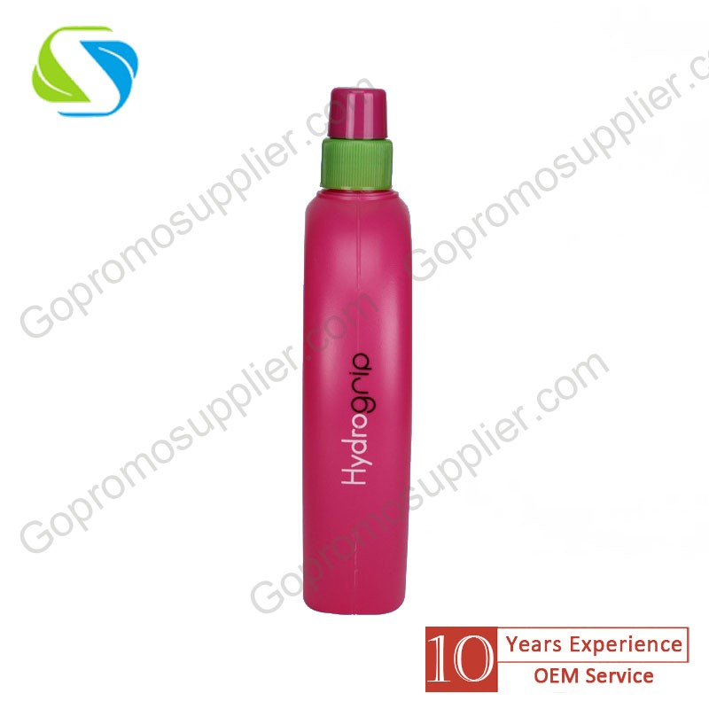 brand promotion advertising logo print custom squeeze hollow out handle plastic sport drink water bottle