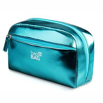 2015 promotional private label leather make up bag makeup bag with mirror in flap can be customized