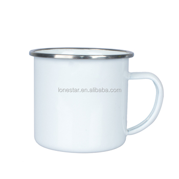 2018 Personalized Small Order white color Heat transfer enamel mug