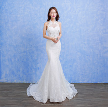 Tulle Wedding Dress Mermaid Bridal Gown Backless Chapel Train Bridal Dress