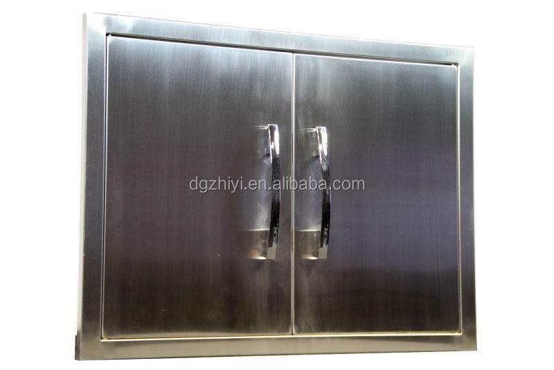 stainless steel double door of bbq island.