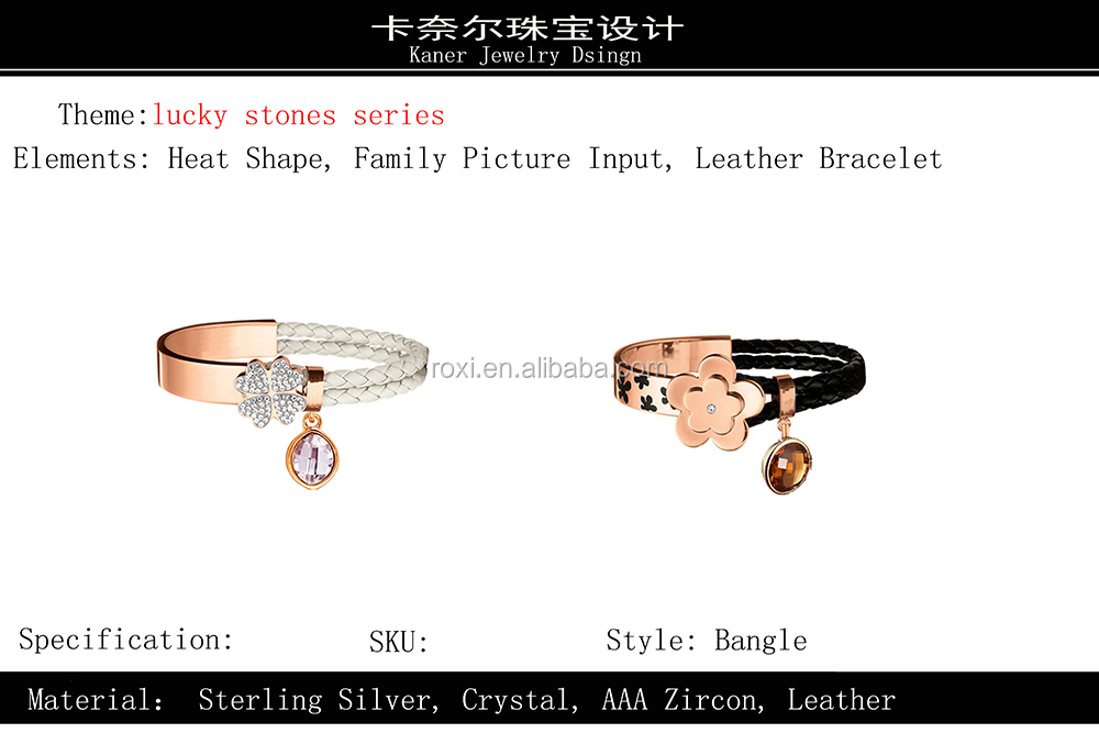 Gs Plated White Gold Bracelet OEM&ODM Anchor Bracelet Lucky Stones Series