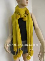 100% Acrylic Knitted Scarf with pendant