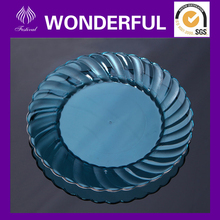 Round plastic blue transparent charger plates