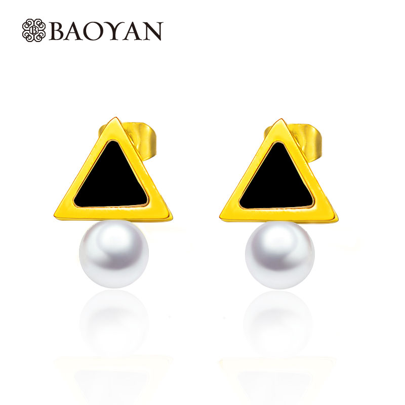 Stainless Steel Gold Color Black Triangle Imitation Pearl Stud Earring for Women