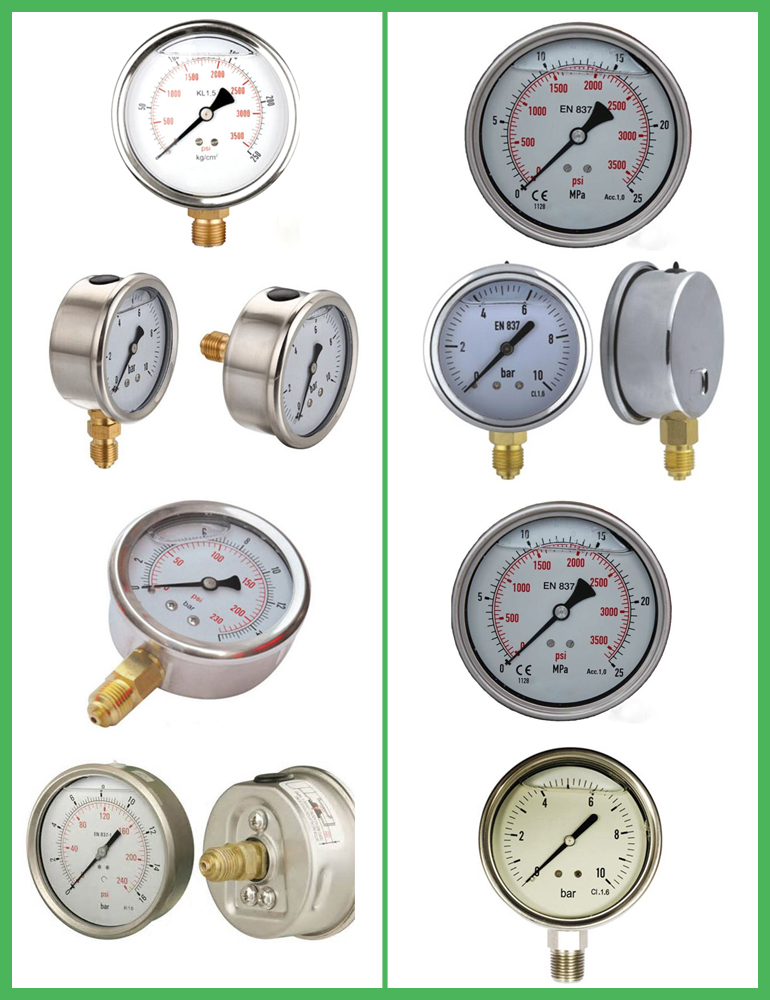 oil filled pressure gauge bar 100mm