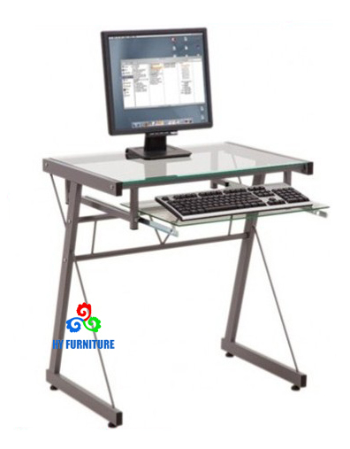 Cheap factory price metal pipe frame glass top computer laptop tables