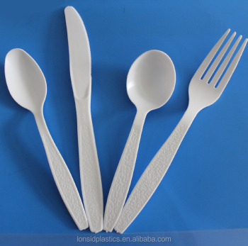 Extra Heavy weight White, Cream, Black or Transparent bulk PS disposable plastic Knife, Spoon and Fork