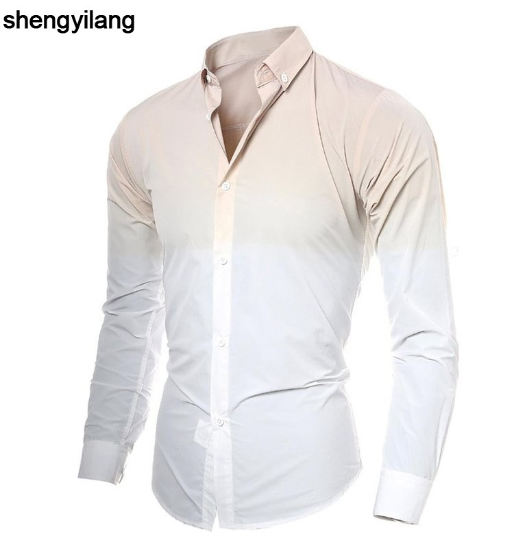 Custom Men's Gradient Tie Dye Printing Long Sleeves Dress Shirts in guangzhou