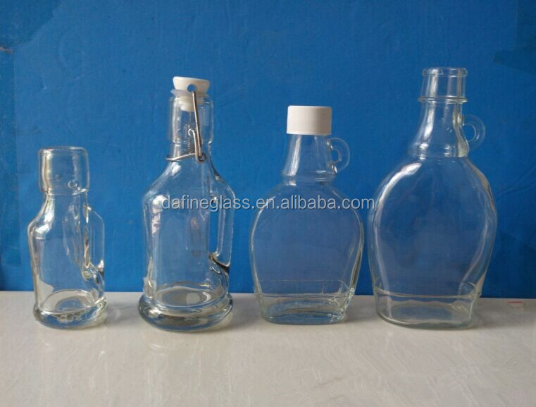 glass marasca bottles /basquaise glass lugs/ bottles for maple syrup with handle