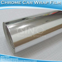 Self Adhesive Chrome Mirror Silver Car Wrapping Vinyl Films 1.52x30m