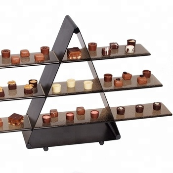 3 Tiers Black Acrylic Buffet Display Stand