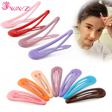 WAYZI brand colorful girls hair accessories metal clip hairpin stainless steel hair clip for kids
