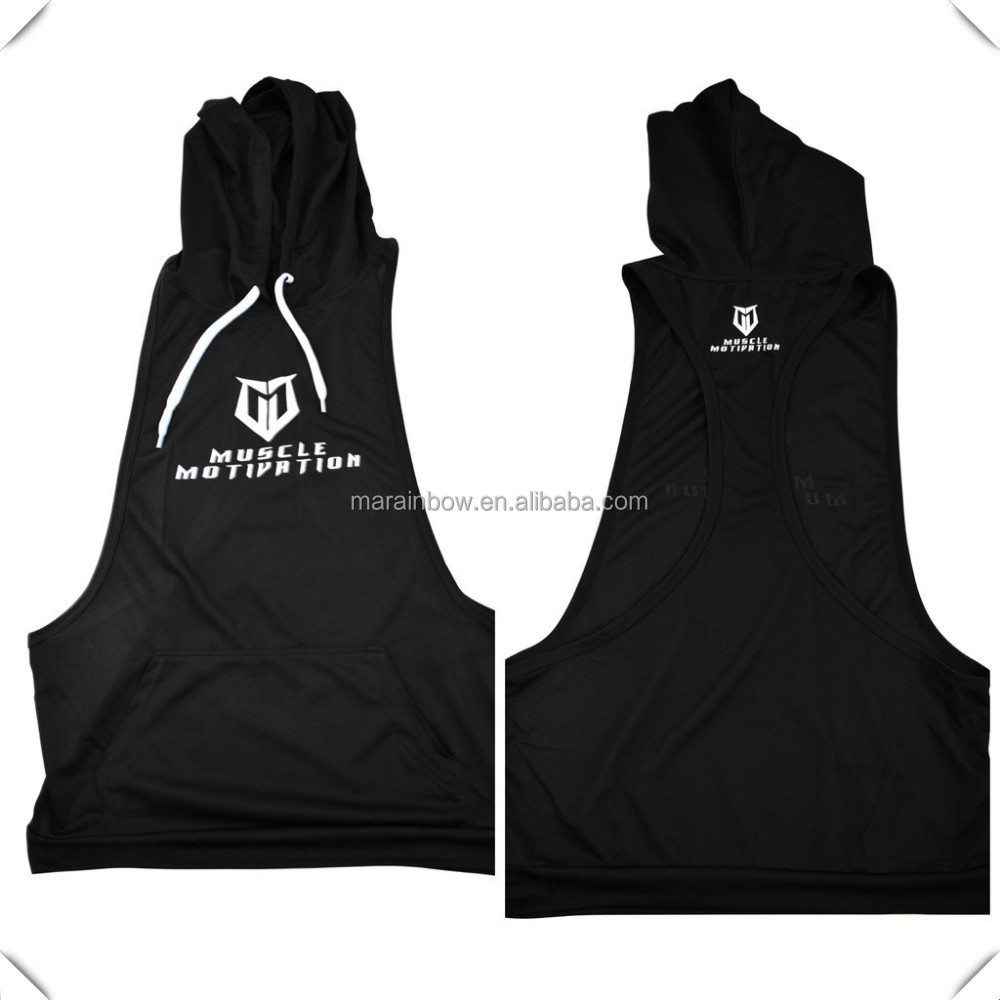 plain black Dry fit performance hooded stringer pullover tank top custom for men, stringer pullover jumper tank tops for sports