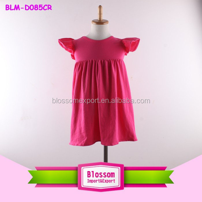 Children flutter sleeve cotton baby dress pictures casual cotton frock designs