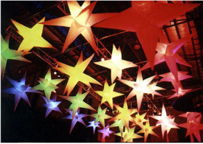 decorative inflatable lights hanging star for restaurant, holidays light up star decorations inflatable lighting stars