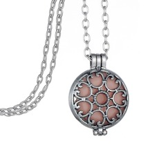 Vintage Silver Locket Essential Oil Aromatherapy Diffuser Pendant Charms Necklace