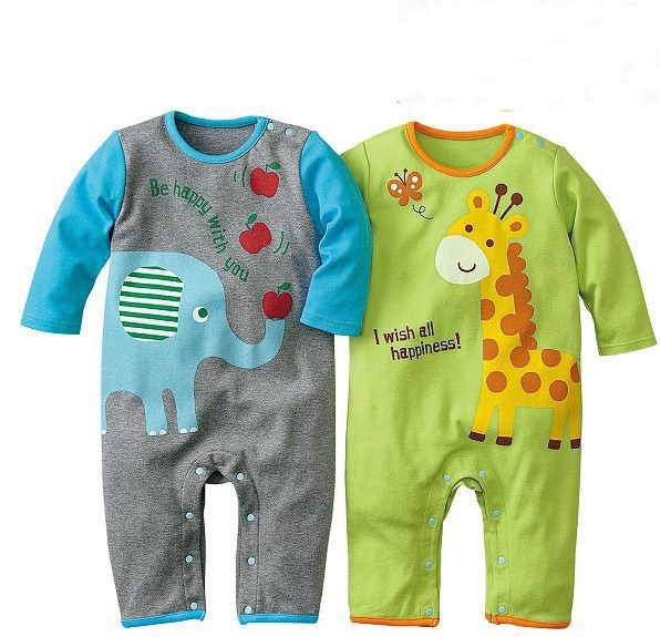 Spring Autumn 2015 Baby Boys Girls Rompers Infants Children Jumpsuit Cartoon Animal Long-Sleeved 100%Cotton Brand Clothes 0-1Y