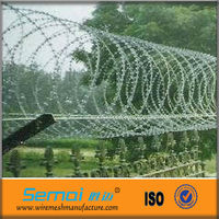 All Type Electro Galvanized Razor Barbed Wire/PVC Coated Razor Barbed Wire Fence Aping ISO Factory