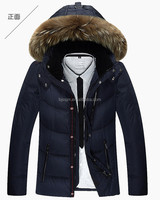 men zipper goose down coat,best down jacket with raccoon fur collar,down feather jacket