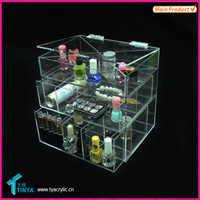 Hot Selling Acryllic Clear Makeup Cosmetic Organizer with 3 Drawers Clear Acrylic Lipstick Holder Nail Polish Acrylic Organizer