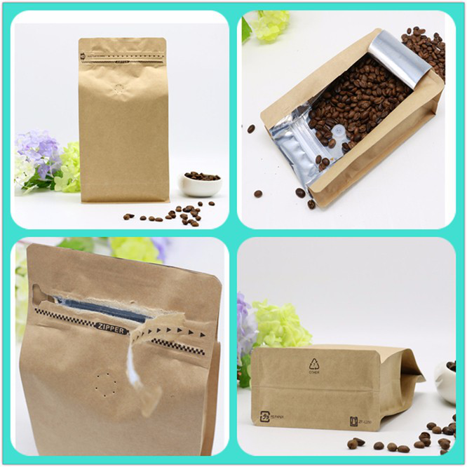 Customized resealable food grade kraft paper flat bottom bread packaging bags