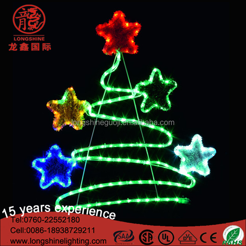 Outdoor decorative use LED Christmas tree top star motif street lighting for holiday decoration